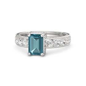 Emerald London Blue Topaz Sterling Silver Ring with White Sapphire