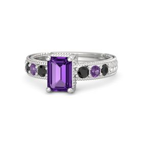 Emerald-Cut Amethyst Sterling Silver Ring with Black Diamond & Amethyst