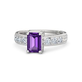 Emerald-Cut Amethyst Sterling Silver Ring with Diamond