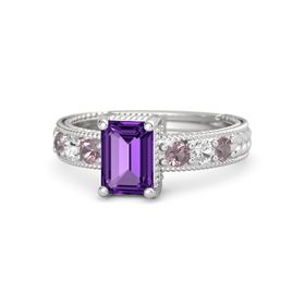 Emerald-Cut Amethyst Sterling Silver Ring with Rhodolite Garnet & White Sapphire