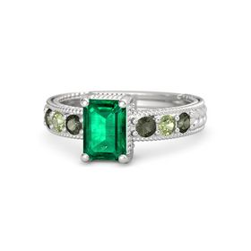 Emerald-Cut Emerald Sterling Silver Ring with Green Tourmaline & Peridot