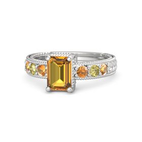 Emerald-Cut Citrine Sterling Silver Ring with Citrine & Yellow Sapphire
