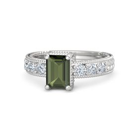Emerald-Cut Green Tourmaline Sterling Silver Ring with Diamond