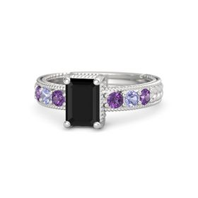 Emerald Black Onyx Sterling Silver Ring with Amethyst and Tanzanite