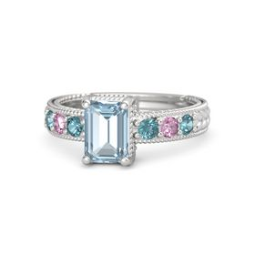 Emerald Aquamarine Sterling Silver Ring with London Blue Topaz and Pink Sapphire