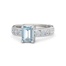 Emerald-Cut Aquamarine Sterling Silver Ring with Diamond