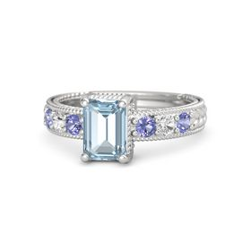 Emerald Aquamarine Sterling Silver Ring with Iolite and White Sapphire
