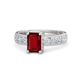 Emerald-Cut Ruby Sterling Silver Ring with Diamond
