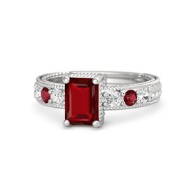 Emerald Ruby Sterling Silver Ring with White Sapphire and Ruby