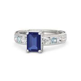 Emerald Blue Sapphire Sterling Silver Ring with White Sapphire and Aquamarine