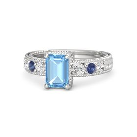 Emerald Blue Topaz Sterling Silver Ring with White Sapphire and Blue Sapphire