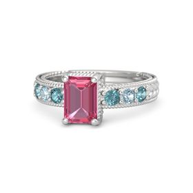Emerald-Cut Pink Tourmaline Sterling Silver Ring with London Blue Topaz & Aquamarine