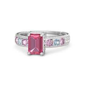 Emerald-Cut Pink Tourmaline Sterling Silver Ring with Pink Sapphire & Aquamarine