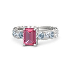Emerald-Cut Pink Tourmaline Sterling Silver Ring with Blue Topaz & Diamond