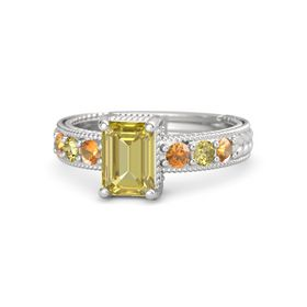 Emerald Yellow Sapphire Sterling Silver Ring with Citrine and Yellow Sapphire