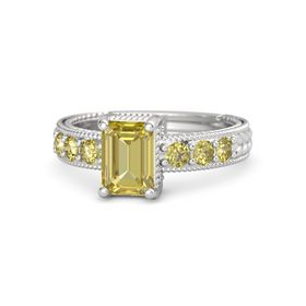 Emerald Yellow Sapphire Sterling Silver Ring with Yellow Sapphire