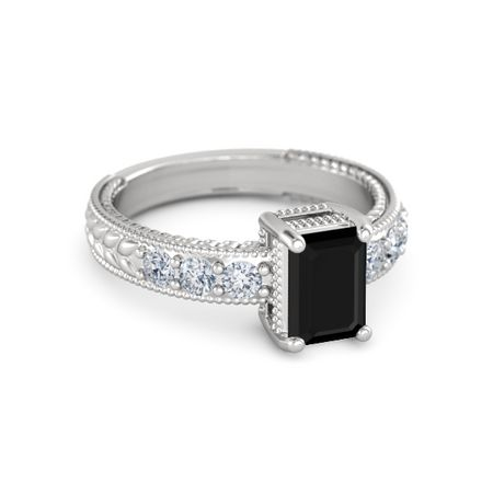 emerald cut black onyx sterling silver ring with
