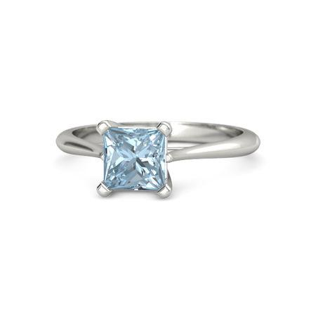 princess aquamarine 14k white gold ring simply princess