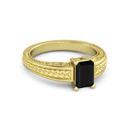 emerald cut black onyx 14k yellow gold ring emerald cut