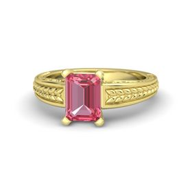 Emerald-Cut Pink Tourmaline 14K Yellow Gold Ring