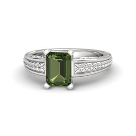 Emerald-Cut Green Tourmaline Sterling Silver Ring
