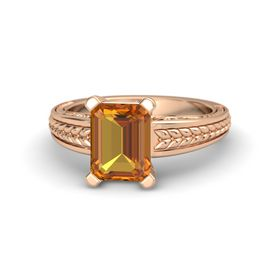 Emerald Citrine 14K Rose Gold Ring