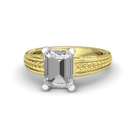 Emerald-Cut Rock Crystal 14K Yellow Gold Ring