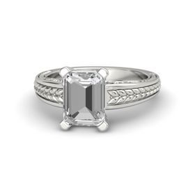 Emerald-Cut Rock Crystal Palladium Ring