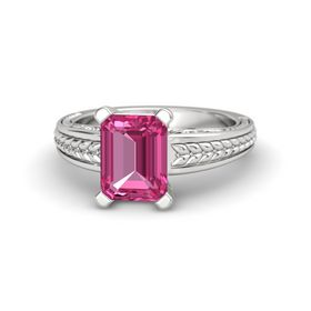 Emerald Pink Sapphire Sterling Silver Ring
