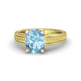 Oval Aquamarine 18K Yellow Gold Ring
