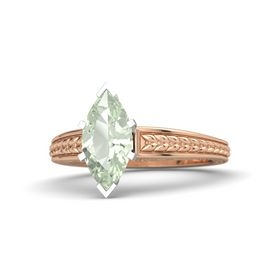 Marquise Green Amethyst 14K Rose Gold Ring