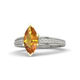 Marquise Citrine 18K White Gold Ring