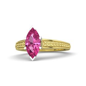 Marquise Pink Sapphire 18K Yellow Gold Ring