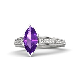 Marquise Amethyst Sterling Silver Ring