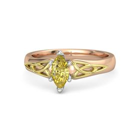 Marquise Yellow Sapphire 14K Rose Gold Ring