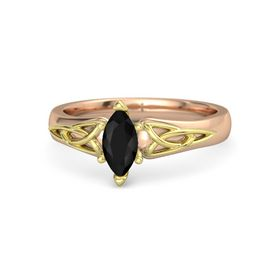 Marquise Black Onyx 14K Rose Gold Ring