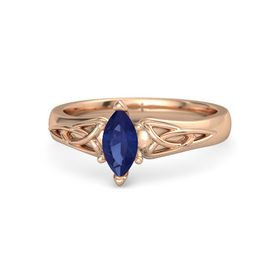 Marquise Blue Sapphire 14K Rose Gold Ring