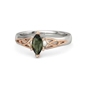 Marquise Green Tourmaline 14K White Gold Ring