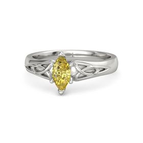 Marquise Yellow Sapphire 14K White Gold Ring