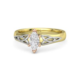 Marquise White Sapphire 14K Yellow Gold Ring