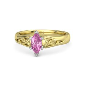 Marquise Pink Sapphire 14K Yellow Gold Ring