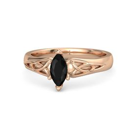 Marquise Black Onyx 18K Rose Gold Ring