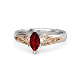 Marquise Ruby Sterling Silver Ring