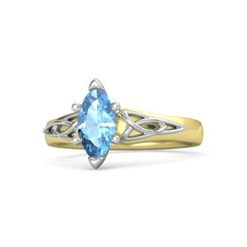 Marquise Blue Topaz 14K Yellow Gold Ring