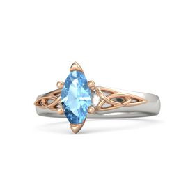 Marquise Blue Topaz 18K White Gold Ring