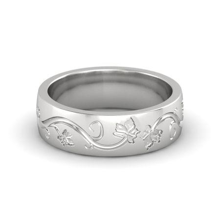 Men S Sterling Silver Ring Carved Vine Band Gemvara