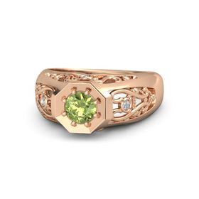 Men's Round Peridot 14K Rose Gold Ring with Diamond