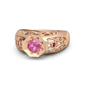 Round Pink Tourmaline 14K Rose Gold Ring with White Sapphire and Ruby