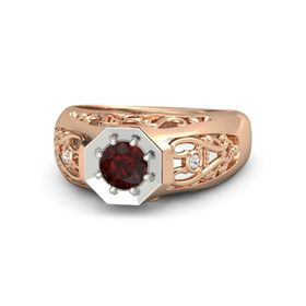 Round Red Garnet 14K Rose Gold Ring with Ruby and White Sapphire