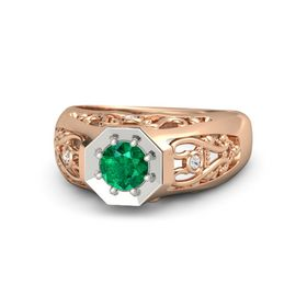 Men's Round Emerald 14K Rose Gold Ring with White Sapphire